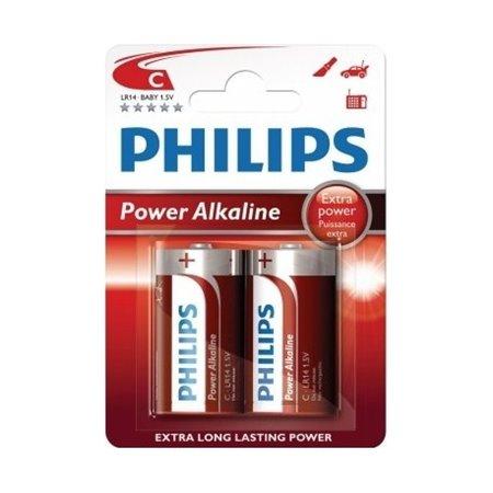 Pila Alcalina Philips LR14 Mediana BL 2 unidades