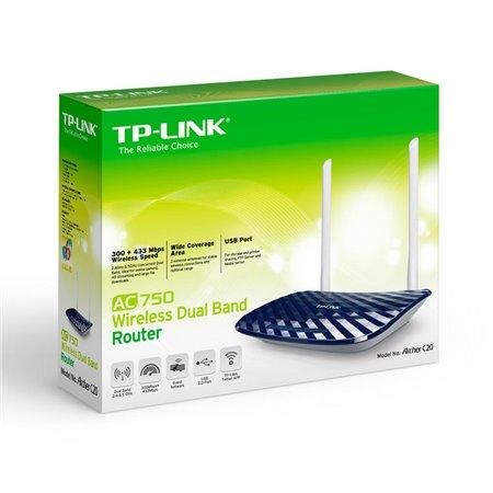 Router TP-LINK WiFi 750Mb 1USB 2antenas (Archer C20)