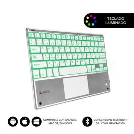 Teclado SUBBLIM BT Touchpad Smart Blacklit Plat(SMBT50)