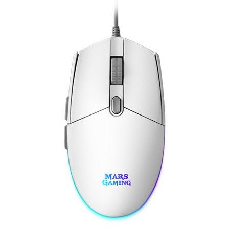 Ratón Mars Gaming USB Óptico 3200dpi RGB Blanco (MMGW)