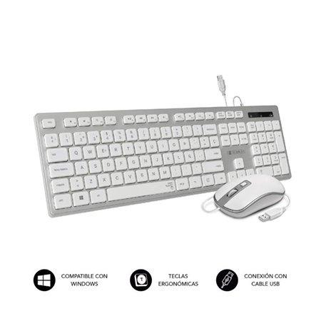 Tecl+Ratón SUBBLIM Ergo Flat USB Plata/Blanco (CEKE60)